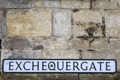 Exchequer Gate in Lincoln UK. A street sign for Exchequer Gate in the historic city of Lincoln, in the UK Royalty Free Stock Images