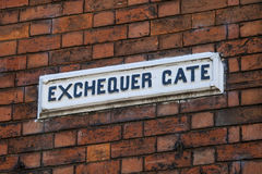 Exchequer Gate in Lincoln UK. A street sign for Exchequer Gate in the historic city of Lincoln, in the UK Royalty Free Stock Photography
