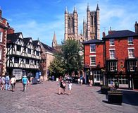 Exchequer Gate, Lincoln. View of exchequer gate town square with the Cathedral to the rear, Lincoln, Lincolnshire, England, UK, Western Europe Royalty Free Stock Images