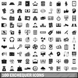 100 exchequer icons set, simple style. 100 exchequer icons set in simple style for any design vector illustration stock illustration