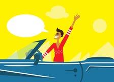 Excitador de carro engraçado do homem da banda desenhada dos desenhos animados ilustração do vetor