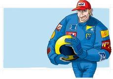 Excitador do Fórmula 1, com capacete Fotografia de Stock Royalty Free