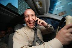 Excitador que fala no telefone Imagens de Stock