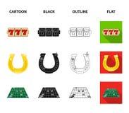 Excitation, récréation, passe-temps et toute autre icône de Web dans la bande dessinée, noir, contour, style plat , Casino, diver illustration libre de droits