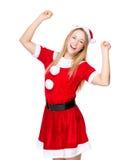 Excite a mulher com vestido do Natal fotografia de stock royalty free
