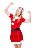 Excite woman with Christmas dress Royalty Free Stock Image