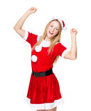 Excite woman with christmas dress Royalty Free Stock Photography