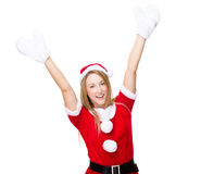 Excite woman with christmas dress and white gloves. Christmas woman isolated on white Royalty Free Stock Image