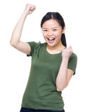 Excite woman fist up Royalty Free Stock Image