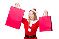 Excite woman hold with shopping bag. Christmas woman isolated on white Royalty Free Stock Photos