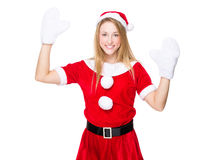 Excite woman rasie hand up. Christmas woman isolated on white Stock Photo