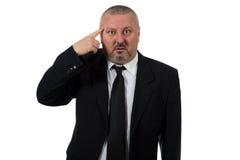 Excited бизнесмен указывая отличная идея Стоковые Фото