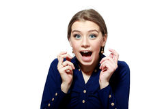 Excited бизнес-леди улыбки Стоковое Изображение RF
