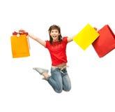 Excited девушка с хозяйственными сумками Стоковое фото RF