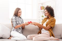 Excited женщина получая подарок от ее друга Стоковые Изображения