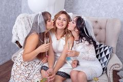 Excited молодая женщина будучи расцелованным ее друзьями стоковое изображение