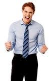 Excited молодой руководитель бизнеса Стоковая Фотография RF