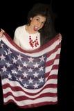 Excited патриотическая женщина держа рот шарфа американского флага открытый Стоковые Фотографии RF