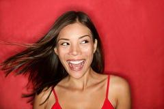 excited счастливая смотря женщина стоковое изображение rf