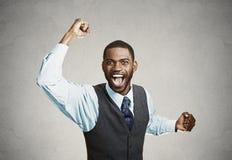 Excited счастливый человек празднует успех, хороший исход Стоковая Фотография RF
