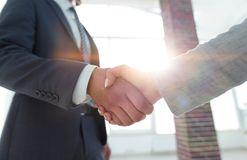 Excited усмехаясь партнер handshaking бизнесмена на встрече, Стоковые Изображения RF