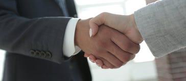 Excited усмехаясь партнер handshaking бизнесмена на встрече, Стоковые Изображения