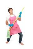 Excited человека счастливое во время чистки стоковое изображение rf