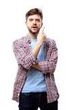 Excited человек указывая отличная идея - изолированная над белизной Стоковая Фотография RF