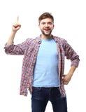Excited человек указывая отличная идея - изолированная над белизной Стоковые Фото