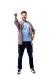 Excited человек указывая отличная идея - изолированная над белизной Стоковые Фотографии RF