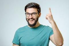 Excited человек указывая отличная идея Стоковая Фотография