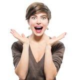 удивленная женщина Молодая excited красота Стоковые Изображения