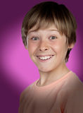 Excited adolescent with a happy gesture. On purple background royalty free stock images
