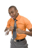 Excited african american business man celebrating Royalty Free Stock Image