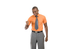 Excited african american business man celebrating Royalty Free Stock Photography