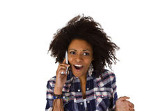 Excited african american woman with cell phone Stock Photography