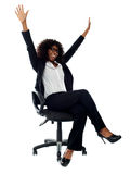 Excited african female business executive stock photography