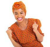 Excited african girl. In traditional clothes Stock Images