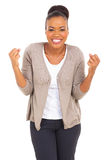 Excited afro american woman Stock Photography