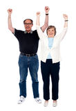 Excited aged couple posing with raised arms Royalty Free Stock Images