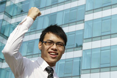 Excited Asian Businessman Royalty Free Stock Photos