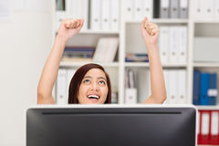 Excited Asian businesswoman cheering Stock Photography