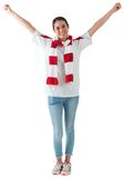 Excited asian football fan cheering Royalty Free Stock Photos