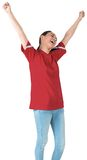 Excited asian football fan cheering Royalty Free Stock Photography
