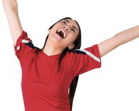 Excited asian football fan cheering Stock Photography