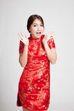 Excited Asian girl in chinese cheongsam dress Stock Photography
