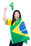 Excited asian soccer fans Royalty Free Stock Photography