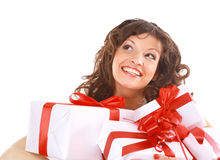 Excited attractive woman Stock Photos