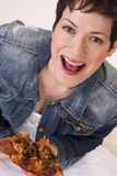Excited Attractive Woman Eating Hot Pizza Lunch White Background Royalty Free Stock Photography