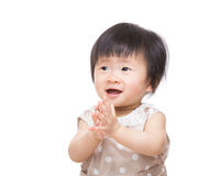 Excited baby girl clapping hand Stock Photography